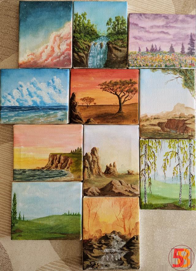 Mini Landscapes Acrylic On Canvas 10x8cm Each Art In 2020 Canvas Art Painting Small Canvas Art Painting Art Projects