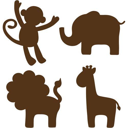 Walmart Wallpops Baby Jungle Silhouettes Decals Espresso Brown Animal Wall Art Nursery Animal Silhouette Animal Stencil