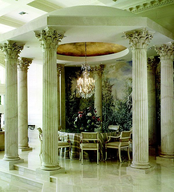Architectural Columns Roman Corinthian Capitals Cast Marble Attic Bases Fluted Tapered Wooden