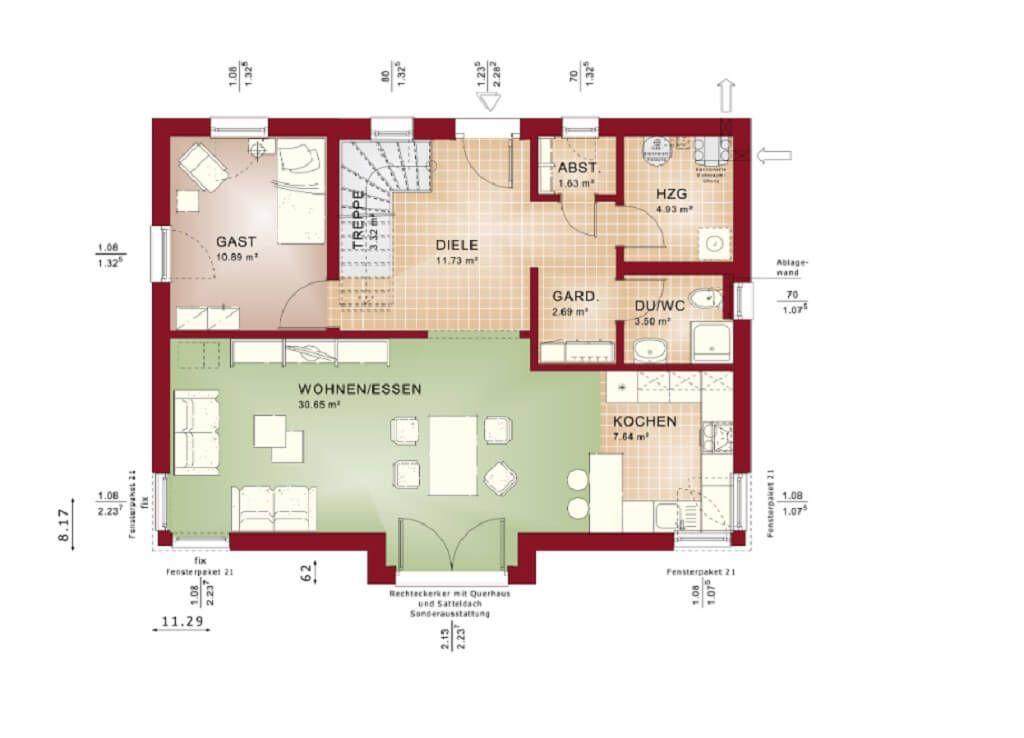 Grundriss Stadtvilla Haus Evolution 148 V4_Bien Zenker_Erdgeschoss - offene kuche wohnzimmer grundriss