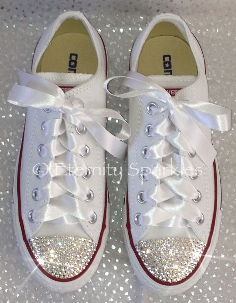 d0efff22626b Customised White Crystal Diamante Bling Converse All Star Lo Ribbon Laces  UK 3-7