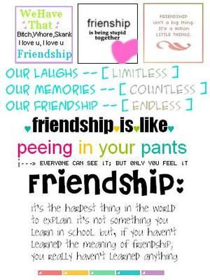 friendship is like peeing your pants graphic