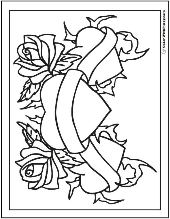 2 Copies In 2020 Heart Coloring Pages Love Coloring Pages Rose Coloring Pages
