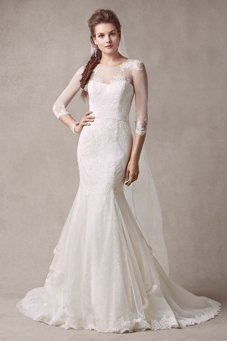 3/4 length lace wedding dress  Tulle  Length Sleeve Trumpet Sash Lace Wedding Dress picture