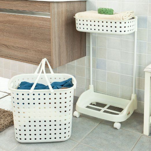Sobuy Cream 2 Baskets Laundry Trolley Laundry Basket On