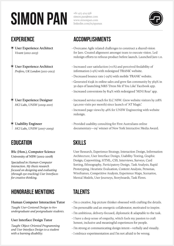 8 Brilliant Ux Designer Resumes That Secured Job Offers From Google Resume Design Resume Design Creative Resume Design Free