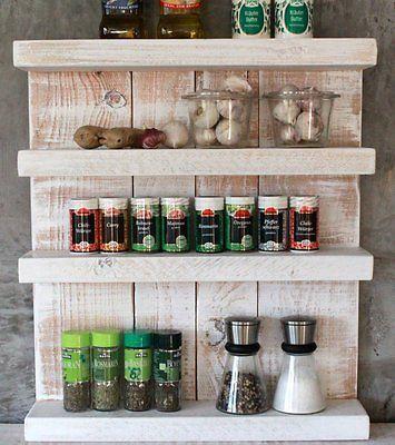 Massivholz Gewürzregal weiß Gewürzhalter Küchenregal Gewürzboard - küchen regale holz