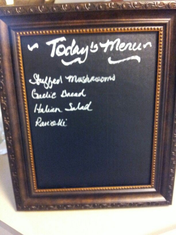 What\'s for dinner? Chalk board paper sheet in a 8x10 picture frame ...