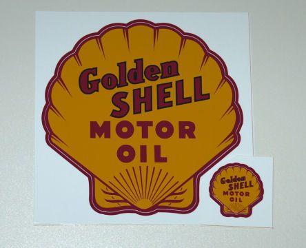 Golden shell motor oil decalmore vinyl decals at www gaspumpheaven com garageart garage mancave gaspump vintage goldenshell motoroil