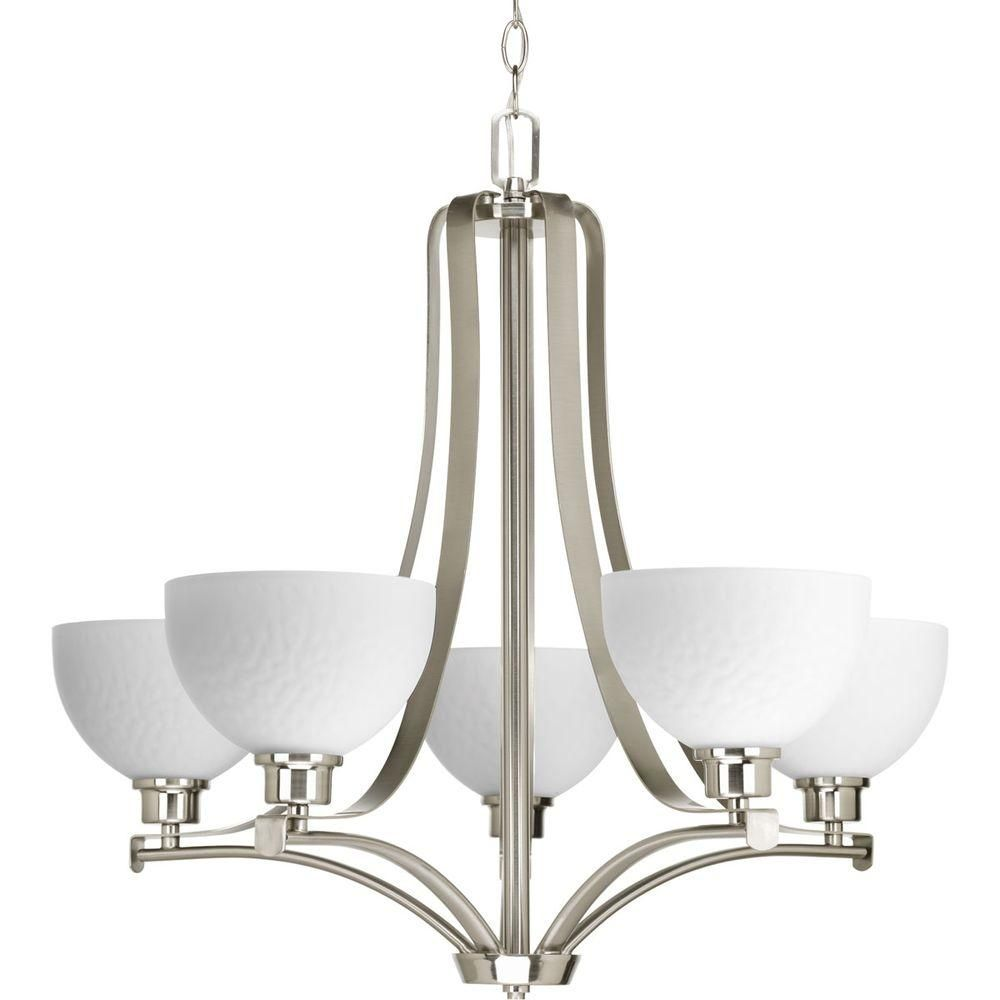 Progress Lighting Legend Collection 5 Light Brushed Nickel Chandelier With Sculpted Glass Shade P4271 09 Brushed Nickel Chandelier Progress Lighting Chandelier Shades