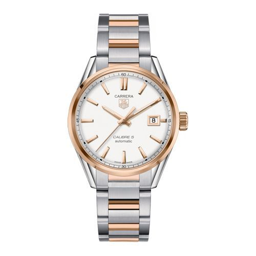 TAG Heuer Men's Carrera Automatic Calibre 5 Watch with a Silver Opalin Dial and Rose Gold Accents