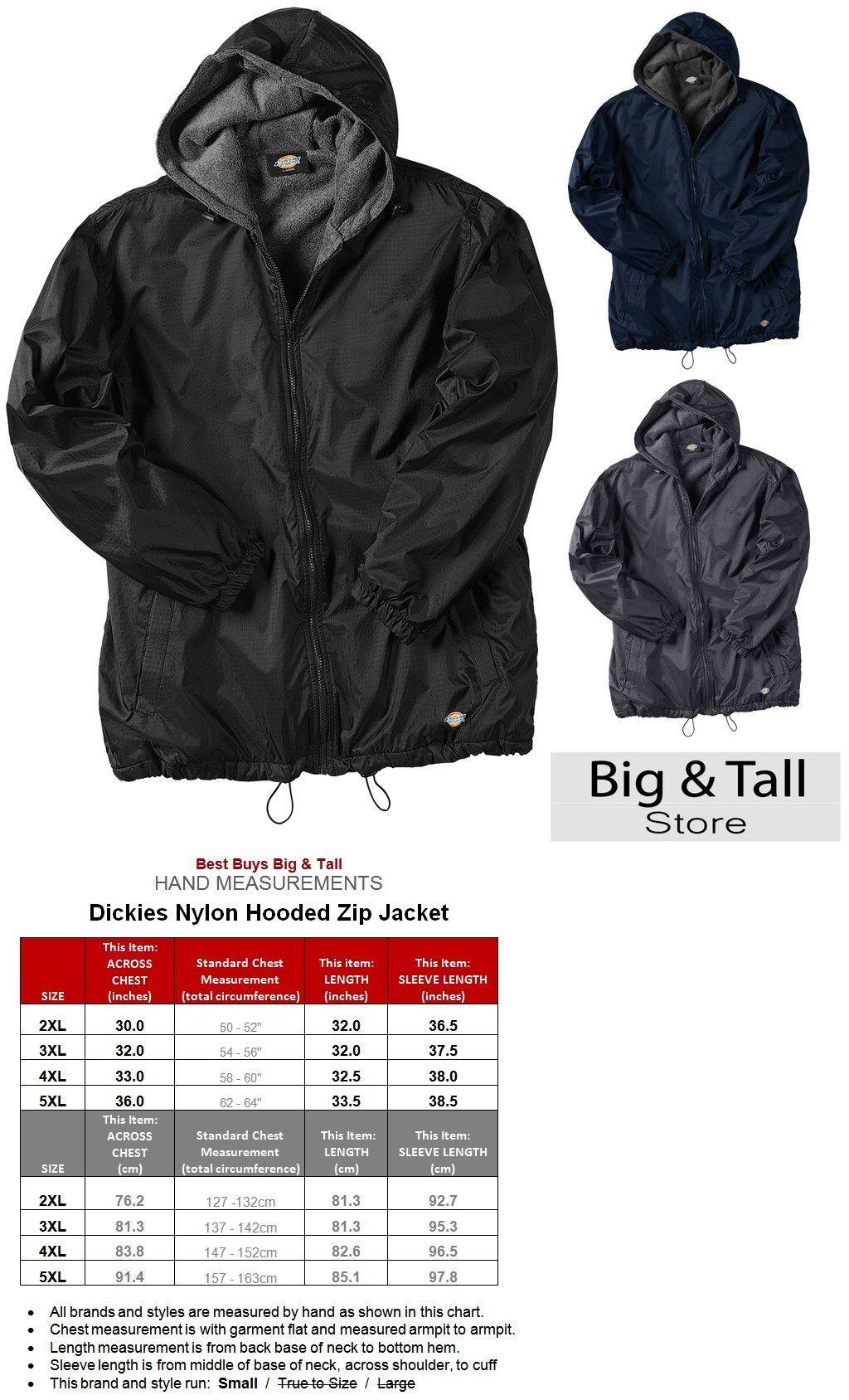 d53935a24 Mens Clothing 1059: Big Men S Dickies Hooded Nylon Zip Jacket Fleece ...