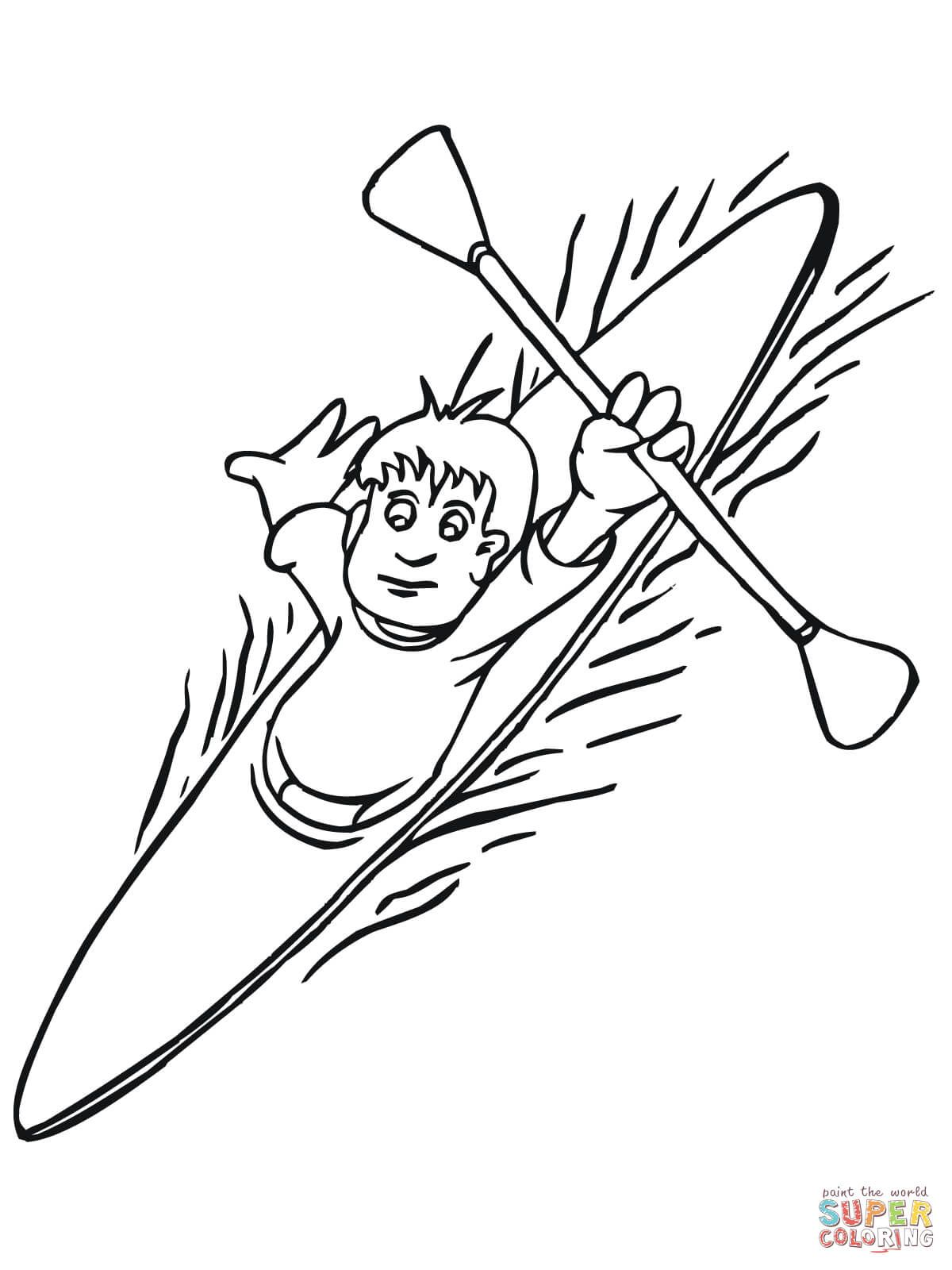 Boy Floating On Kayak Super Coloring Summer Coloring Pages Coloring Pages Kayaking