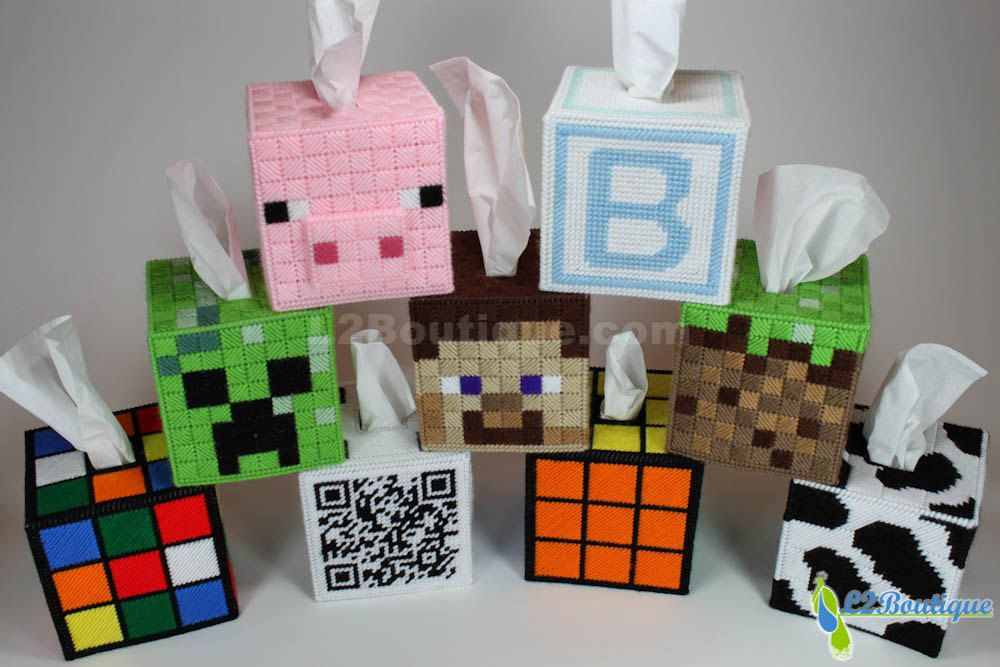 Rubiks Cube and Minecraft tissue box cover