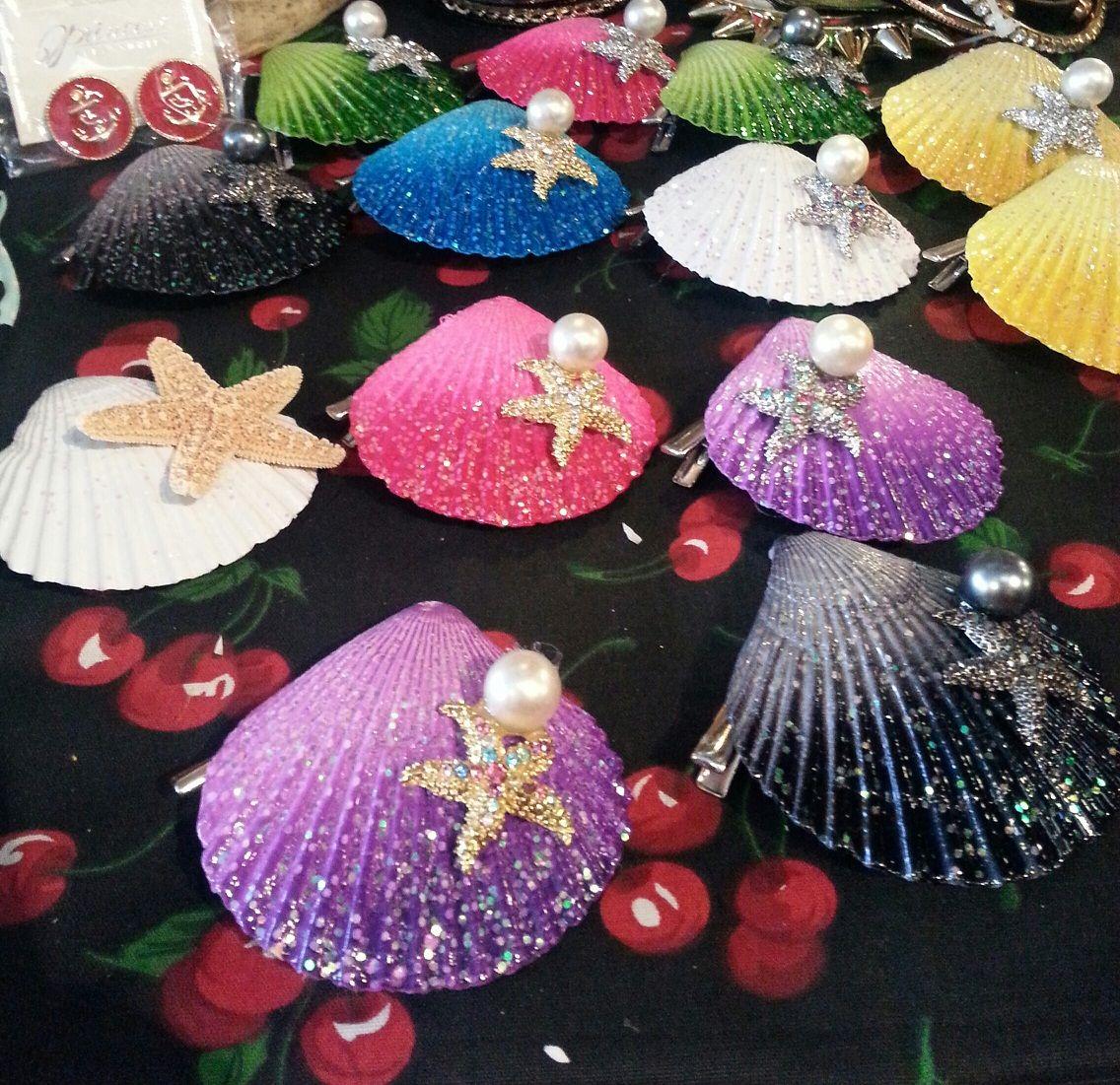 Seashell hairclips