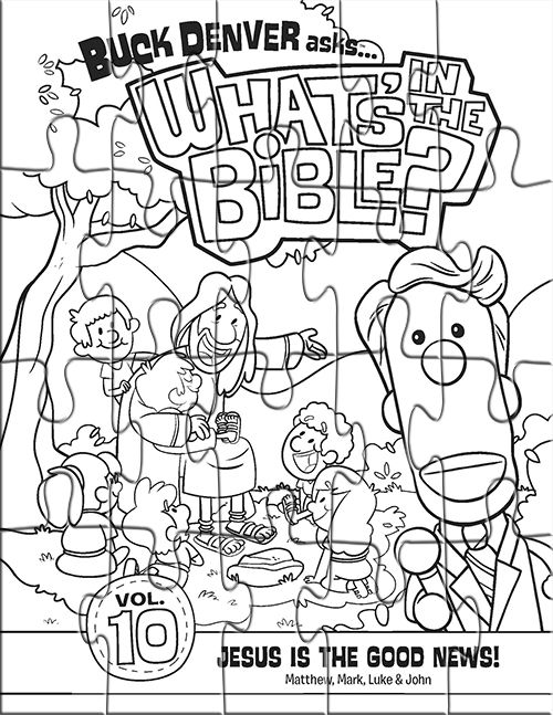 Kids Coloring Page Puzzle From Whats In The Bible Featuring Cover Of Volume 10 Jesus Is Good News