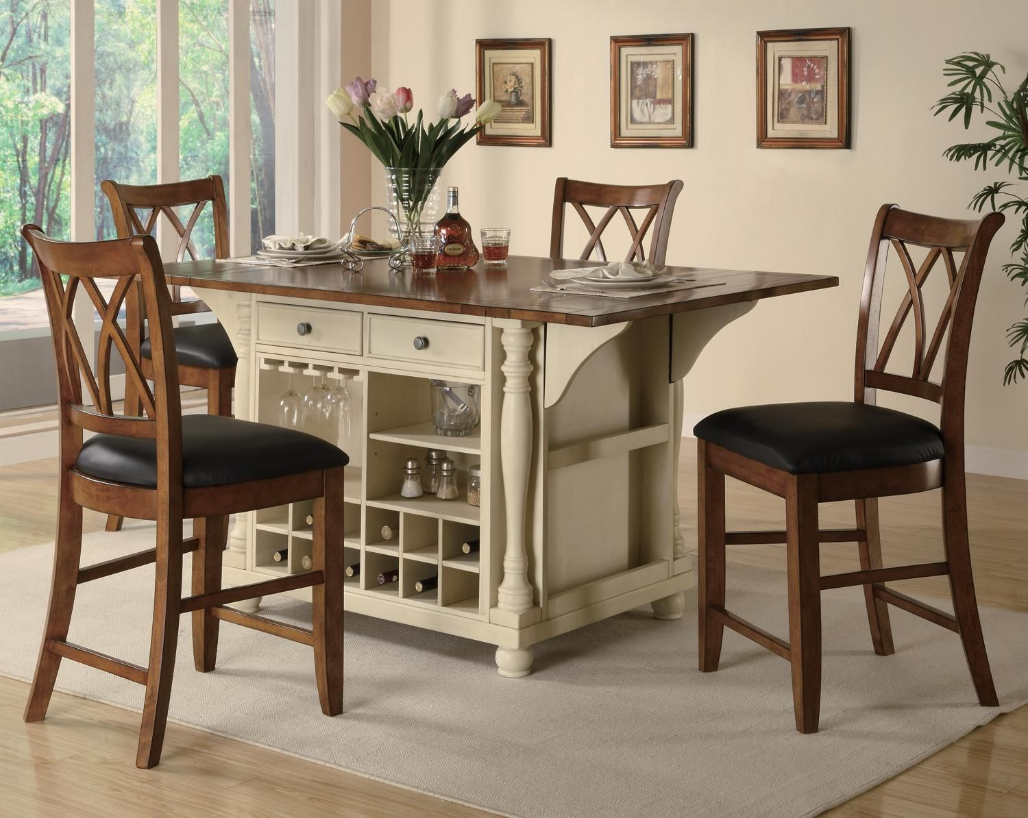Kitchen Island Chairs White Tall Table And Dinette Sets