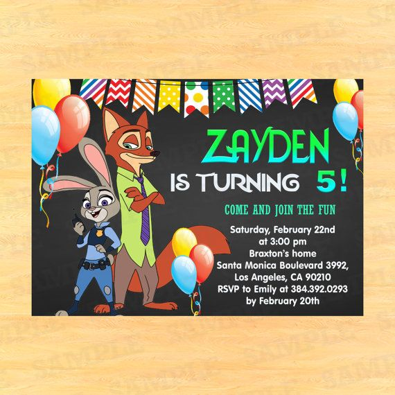 Zootopia Birthday Invitations Zootropolis Birthday Por Partyinstant
