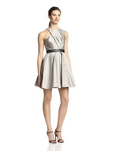 A.B.S. by Allen Schwartz Women's Asymmetric Bodice Fit & Flare Dress (Oyster)