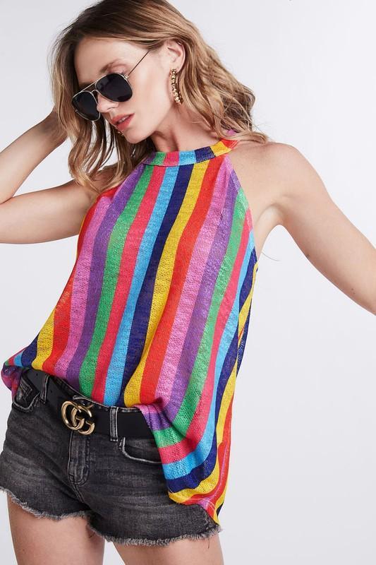 274961bf9 Vivid Multi Color Striped Halter Neck Top   Products