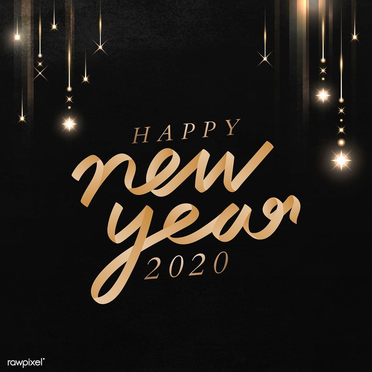 Download premium vector of Happy New Year black greeting card template #2020quotes