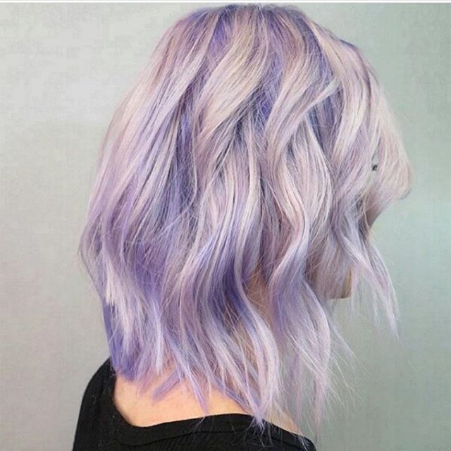 Beautiful Blonde Hair Color With A Purple Base And Touches Of Purple Hair Color Painted Throughout By Chantal La Light Purple Hair Lilac Hair Blonde Hair Color