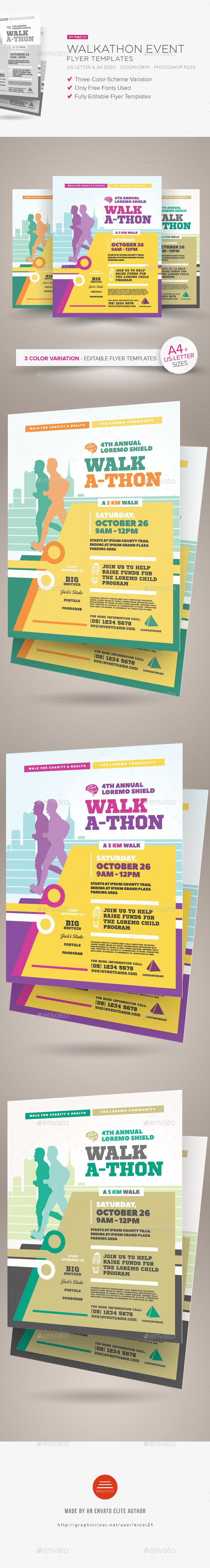 walkathon event flyer templates by kinzi21 walkathon event flyer templates a flyer template pack perfect for promoting walkathon walk a thon event