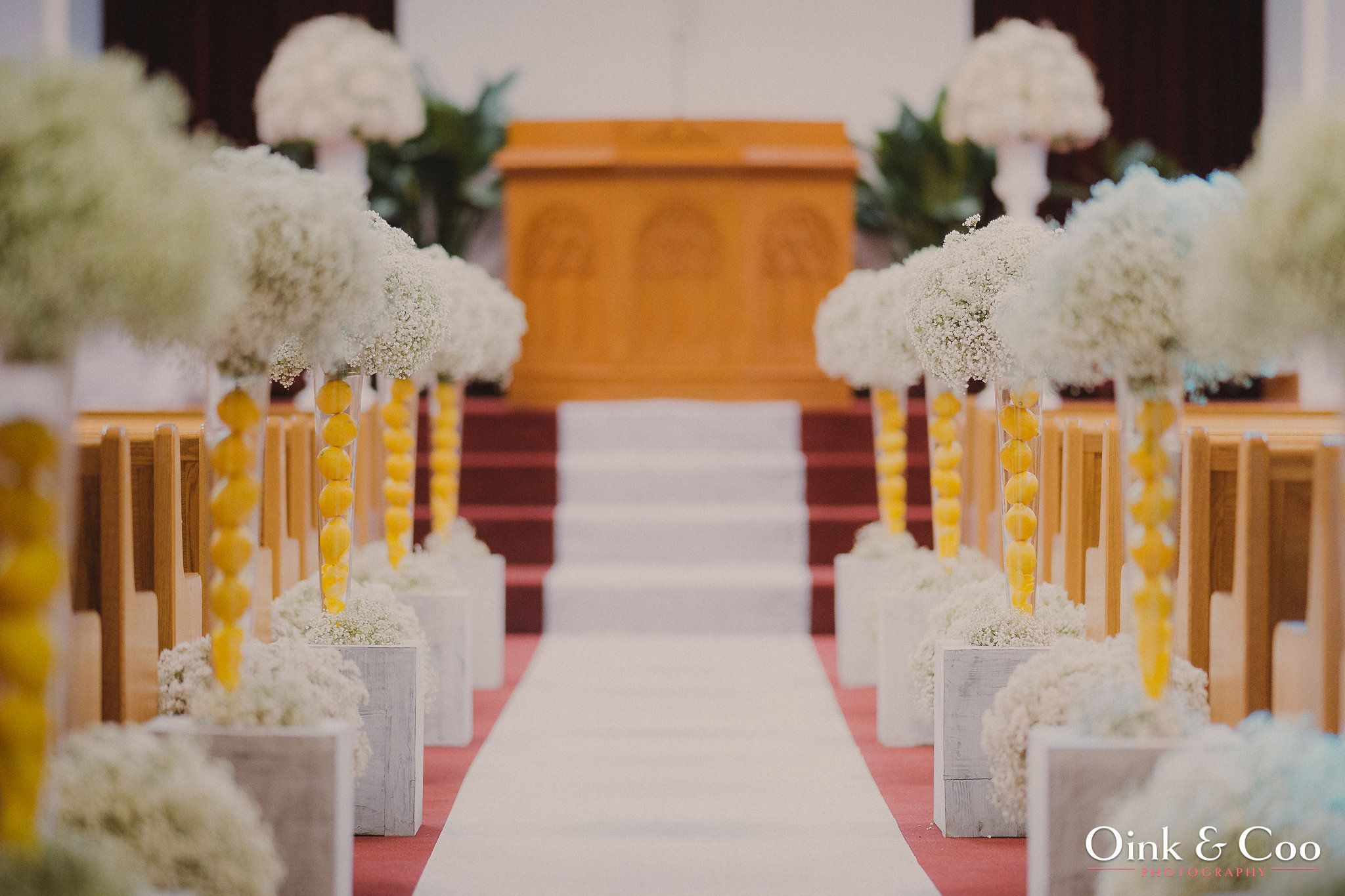 2014 Feb, My Wedding Ceremony Church Decor Lemon, Babys Breathe,