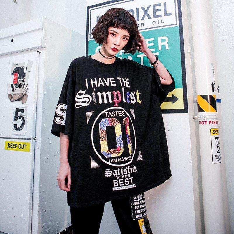 e5543e06 Summer 2019 Fashion Korean Style Ladies Hip Hop Tops Tees Womens Sequins T  Shirt Cotton Female