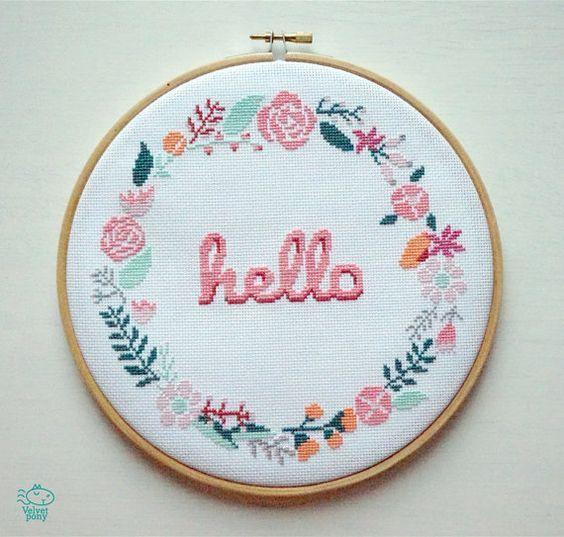 Photo of Hello Floral Wreath Modern Cross Stitch Pattern PDF