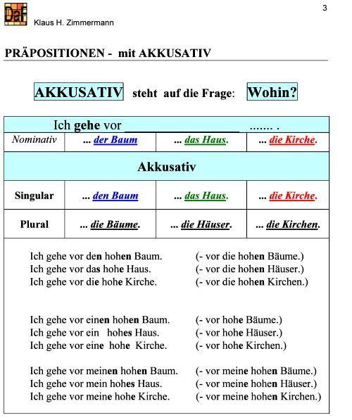 Deutsch als fremdsprache daf daz grammatik pr positionen for Prapositionen mit akkusativ