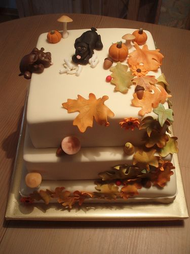Fall dog birthday cake szi tort k pinterest for Autumn cake decoration