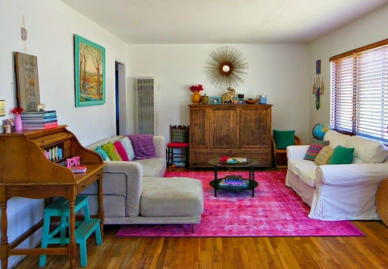 turquoise bohemian before and after living room reveal