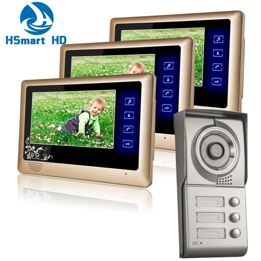 Wired Touch Key 7 Monitor Audio Video Door Phone 3 Units Apartment