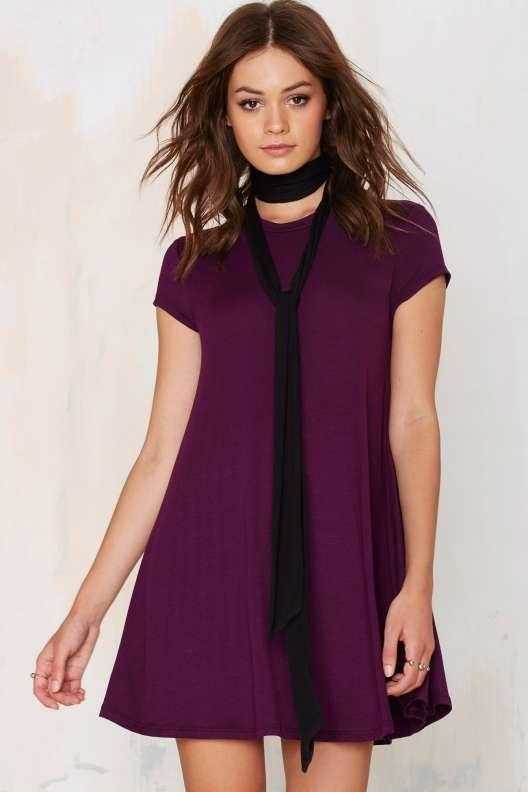 Nasty Gal Take the Shirt Cut Dress - Plum - What's New