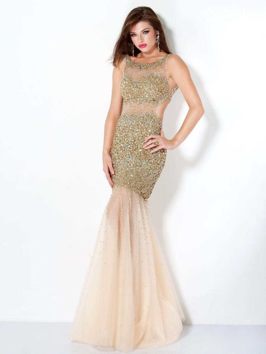 long prom dress 2013 gold jovani mermaid beaded long gown