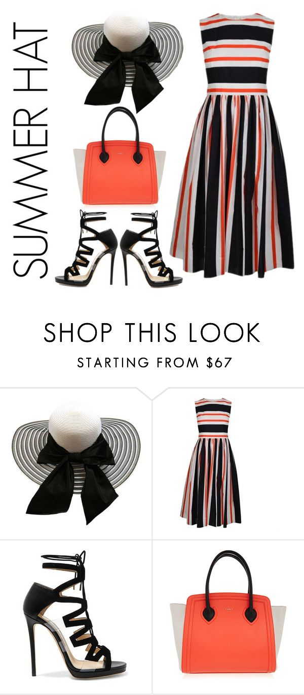 """""""Corrine"""" by pinkpeony21 ❤ liked on Polyvore featuring Dolce&Gabbana, Jimmy Choo, Furla and summerhat"""