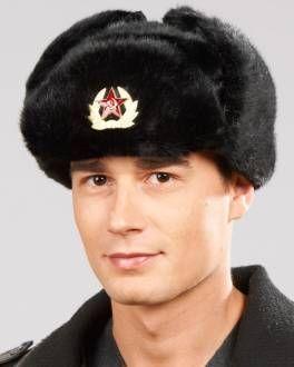 f901c49a155 Faux Fur Russian Ushanka Hat with Badge - Black