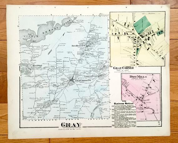 gray maine maps Antique 1871 Gray Maine Map From F W Beers Atlas Of Cumberland gray maine maps