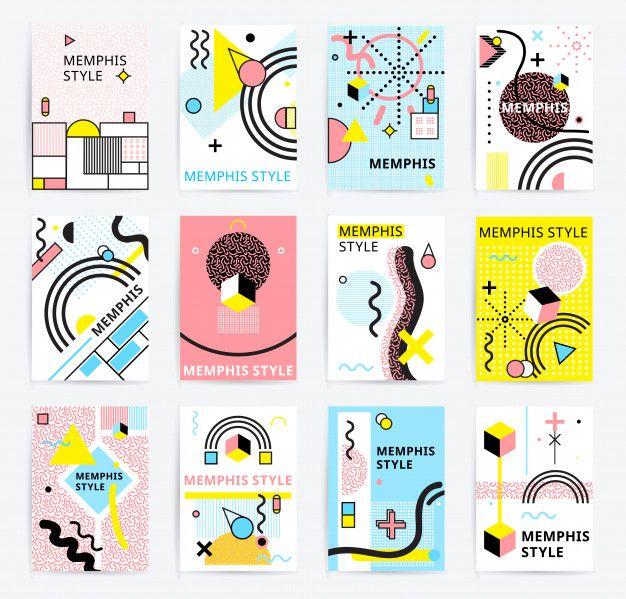 Memphis style posters set Free Vector #memphisdesign