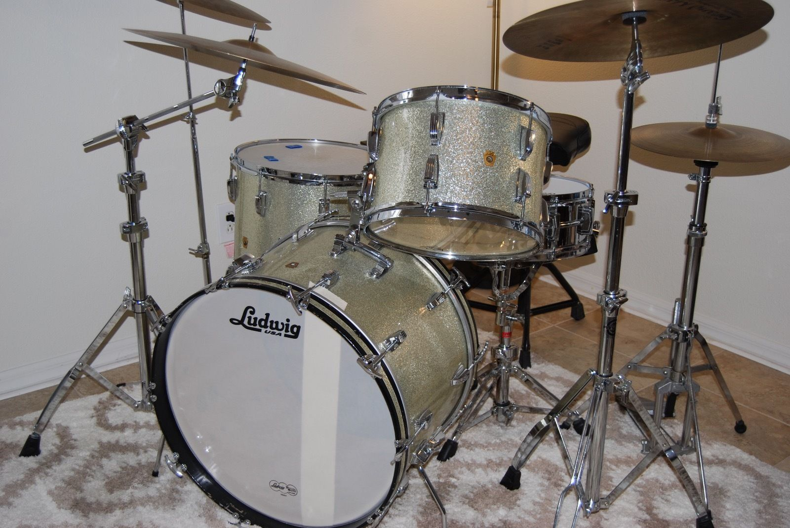 Ludwig Silver Sparkle 60s Vintage Drum Set 1 Owner For 53 Years