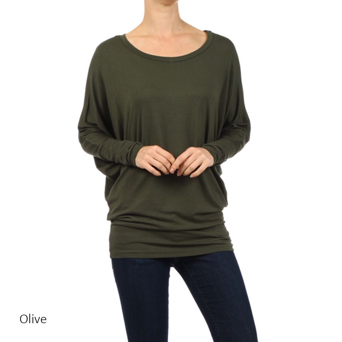 bd60f224a5c59 Women s Rayon and Spandex Solid Dolman Sleeve Tunic (Black-Xlarge ...