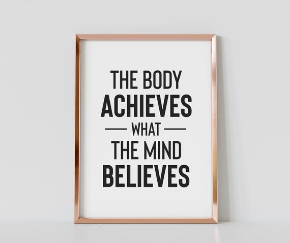 The Body Achieves What The Mind Believes Gym Motivational   Etsy