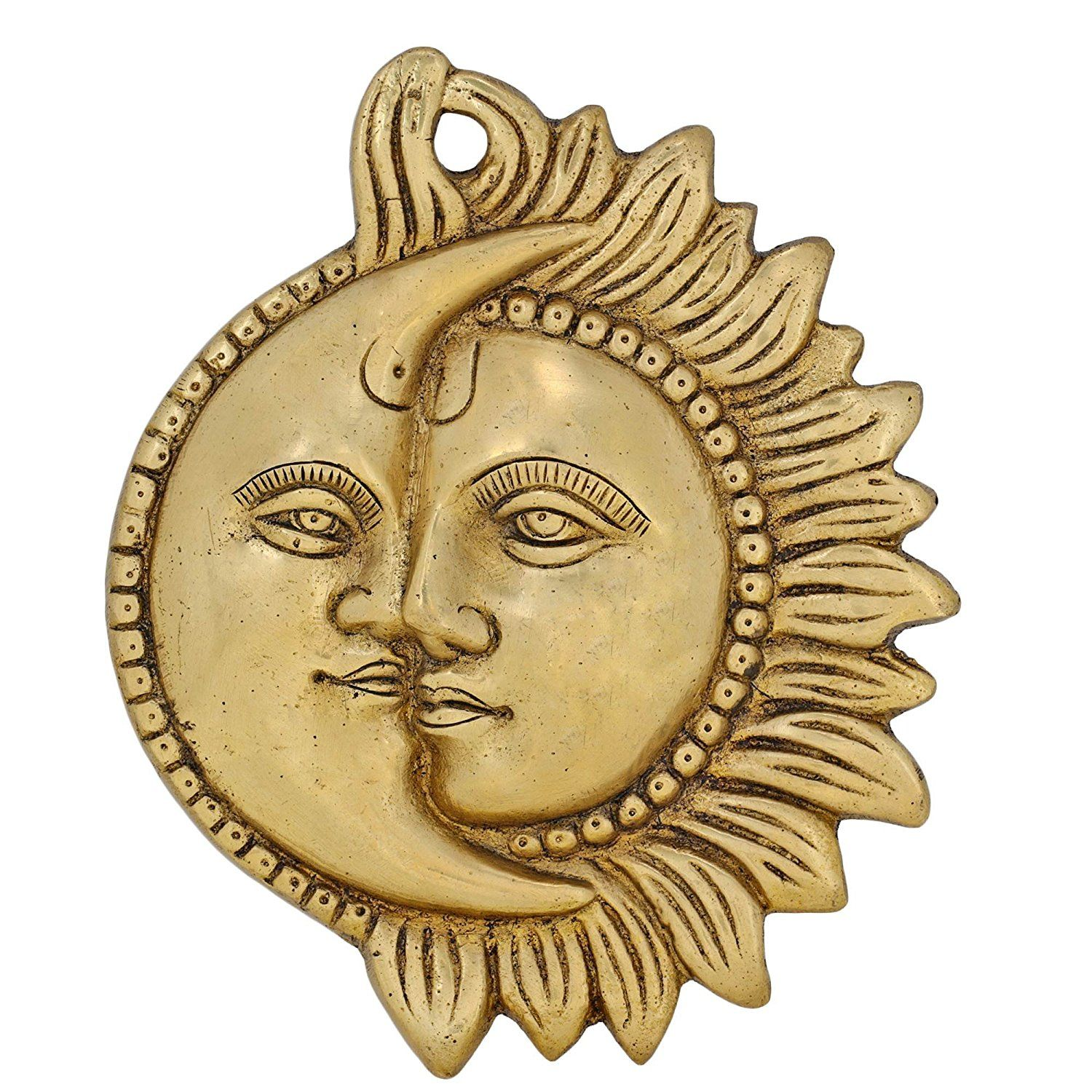 Wall Hanging Brass Figurine Sun and Moon Sculpture for Home Décor ...