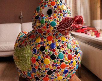 kleurrijke mozaiek badeend, mozaiek object, artistieke badeend, glasmozaiek tuinobject, mosaic rubber duck mosaics mosaic art object