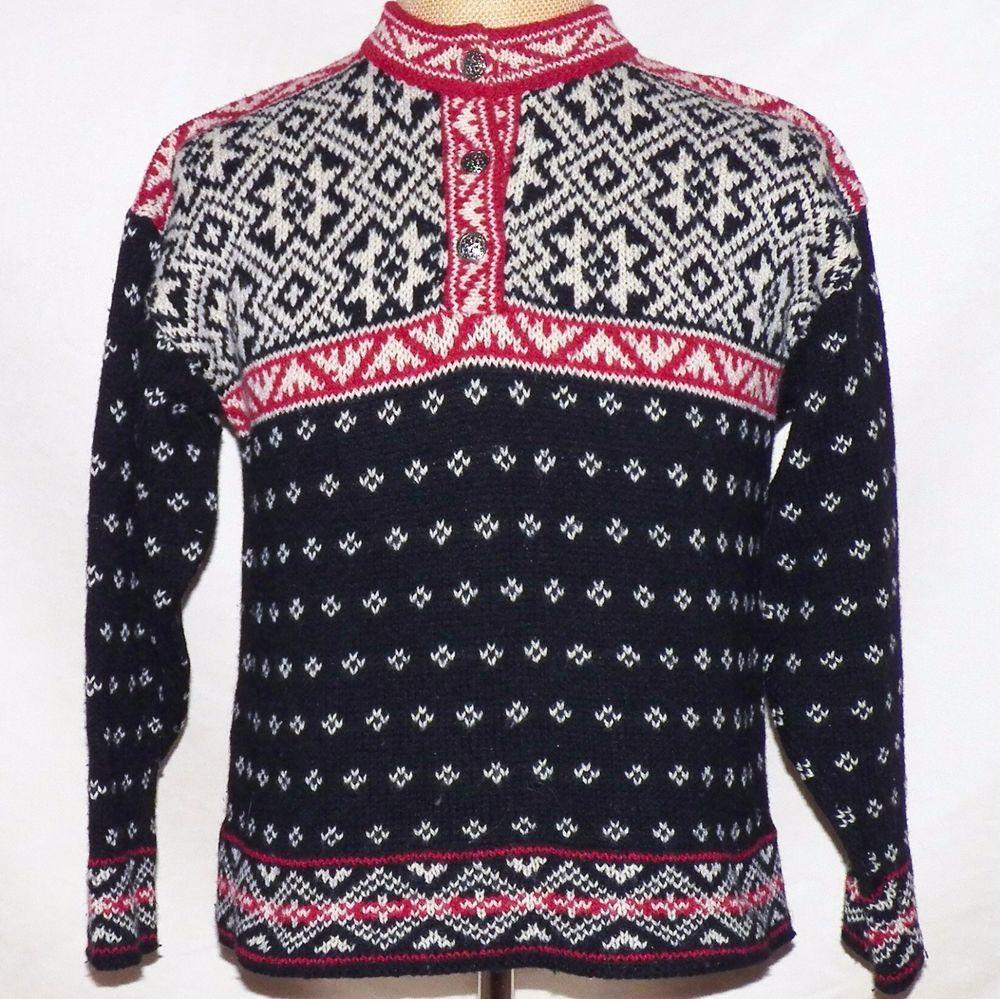 Vintage LL Bean Black Fair Isle Snowflake Nordic Pullover Sweater ...