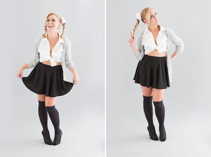 idée de costume britney spears, deguisement halloween femme, jupe noire  courte, chaussettes hautes