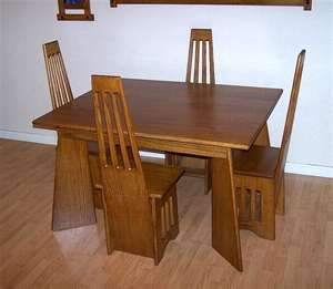Room · Arts Crafts Mission Quarter Sawn Oak Table Chair Dining ...