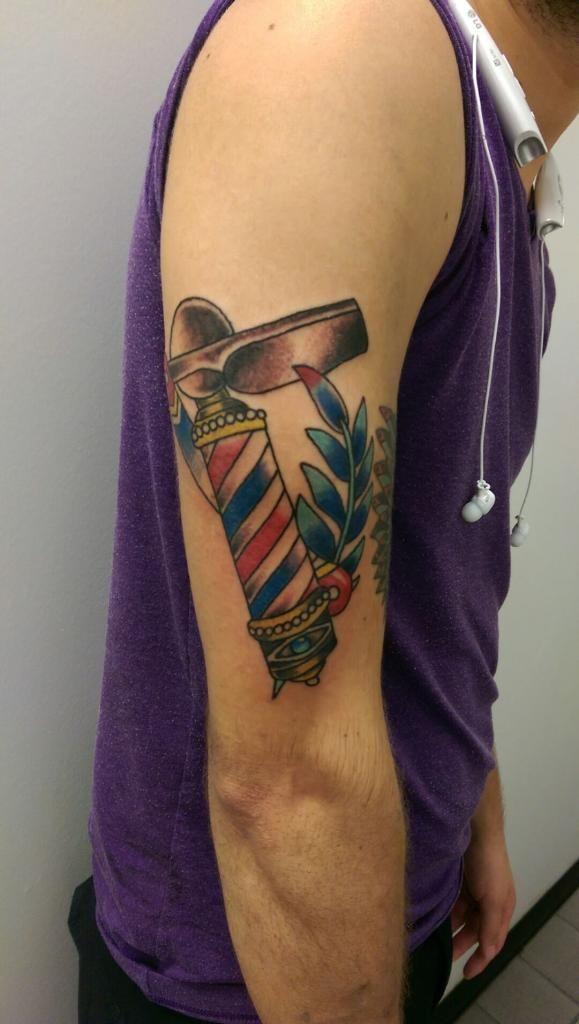 barber tattoo barber pole razor blade traditional
