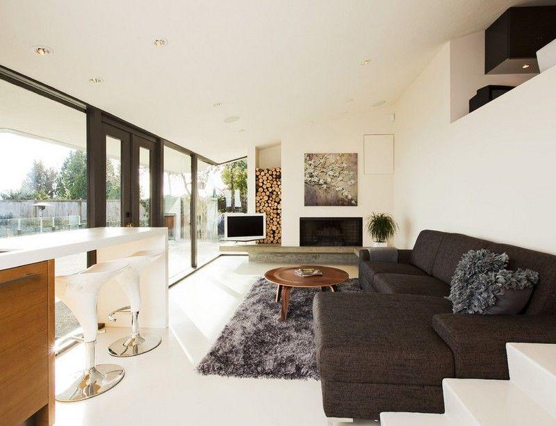 Brennholz-lagern-Kamin-Holzfach-weiss-modern-einrichten - wohnideen wohnzimmer weis